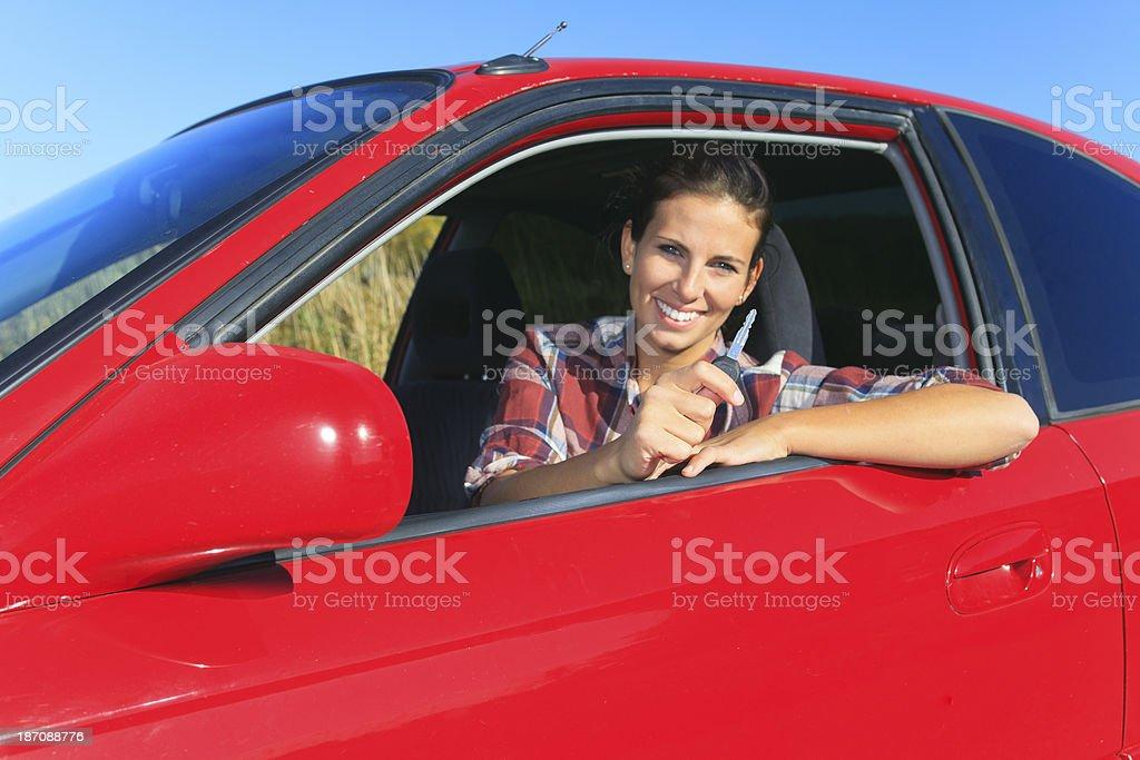 Red Car Woman - Happy Key royalty-free stock photo