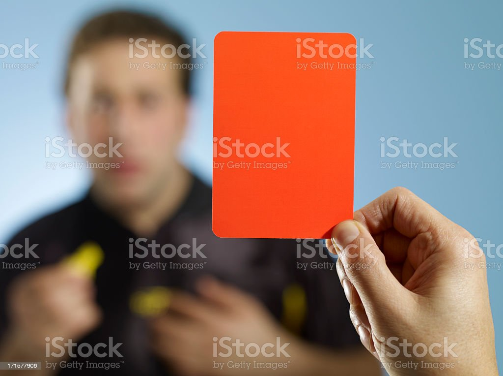 red card for referee stock photo