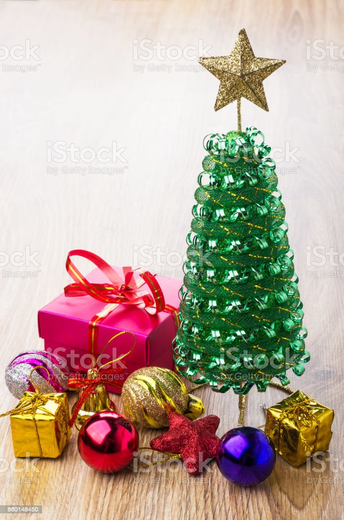 Red Cardboard Box Toy Tree Christmas Balls And Red Star Stock Photo