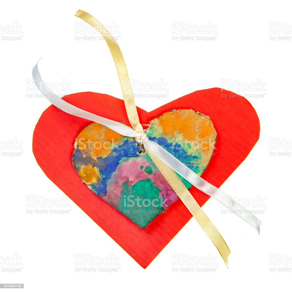 Red cardboard heart over white royalty-free stock photo