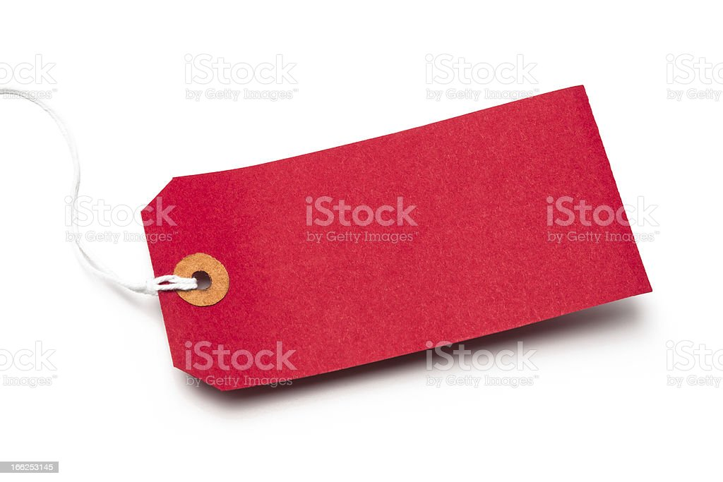 Red cardboard or paper luggage tag isolated on white stock photo