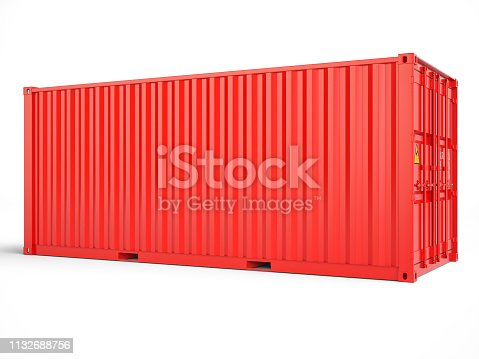 Red cargo container with clipping path