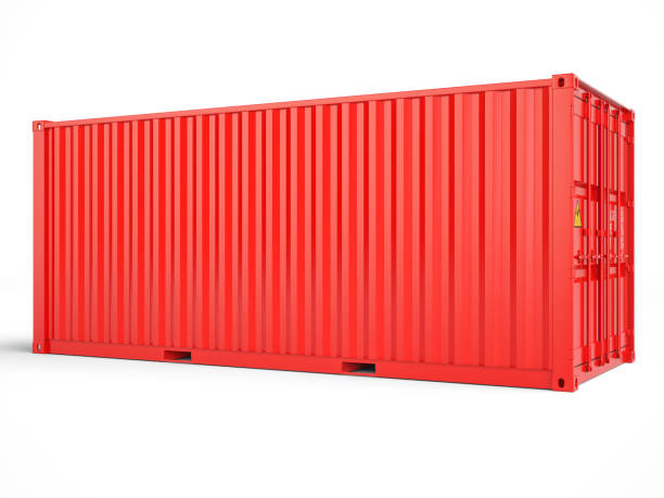 red cargo container with clipping path - container foto e immagini stock