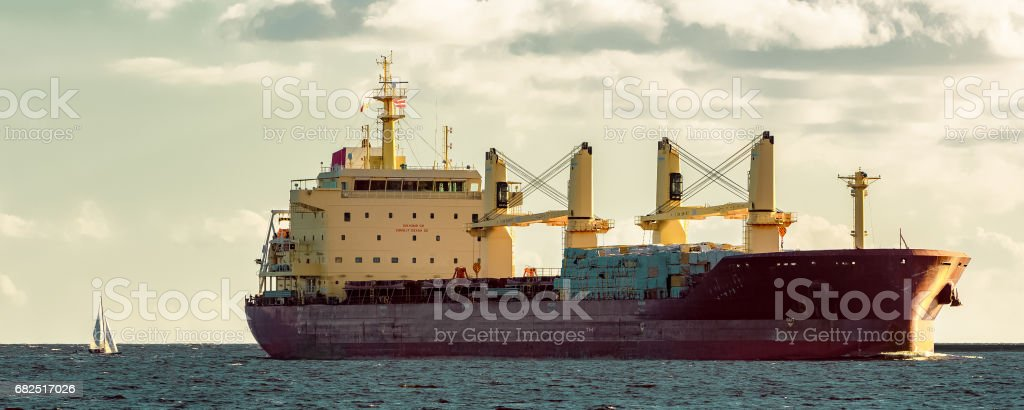 Red cargo ship royalty-free stock photo