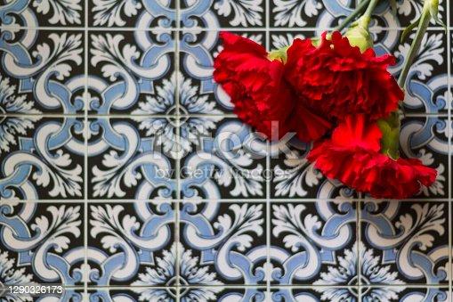 Red carnations against portuguese tiles. Portuguese Revolution and April 25 concept