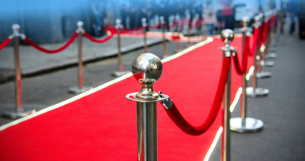 red carpet and barrier on entrance red carpet and barrier on entrance before opening ceremony first class stock pictures, royalty-free photos & images