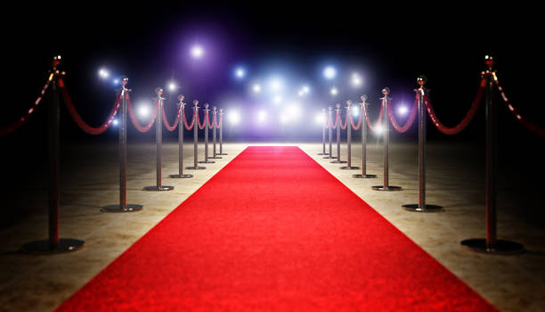 red carpet and barrier red carpet and golden barrier 3d rendering image first class stock pictures, royalty-free photos & images
