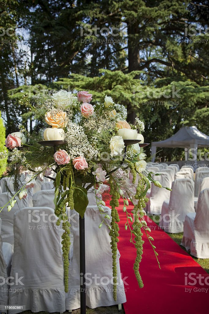 Red carpet and flowers before a wedding royalty-free stock photo