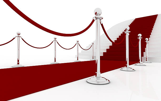 Red carpet and huge stairs (silver) stock photo