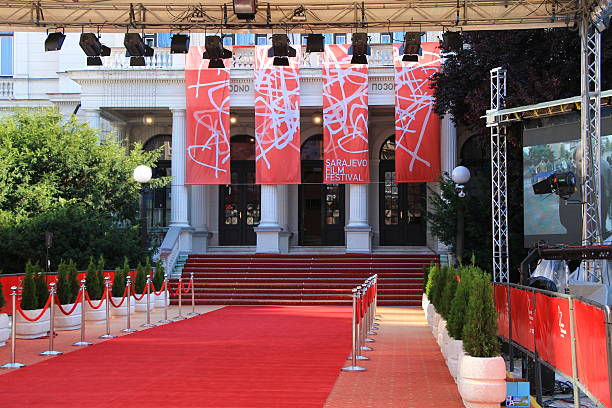 Red carpet and main entrance of Sarajevo Film Festival Sarajevo - Bosnia and Herzegovina - August 14 , 2016 : Red carpet and the main entrance of the 22nd Sarajevo Film Festival in front of National theater in Sarajevo , Bosnia and Herzegovina diva human role stock pictures, royalty-free photos & images
