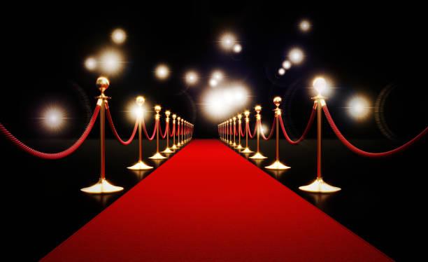Roter Teppich und Paparazzi Lichter auf schwarzem Hintergrund – Foto