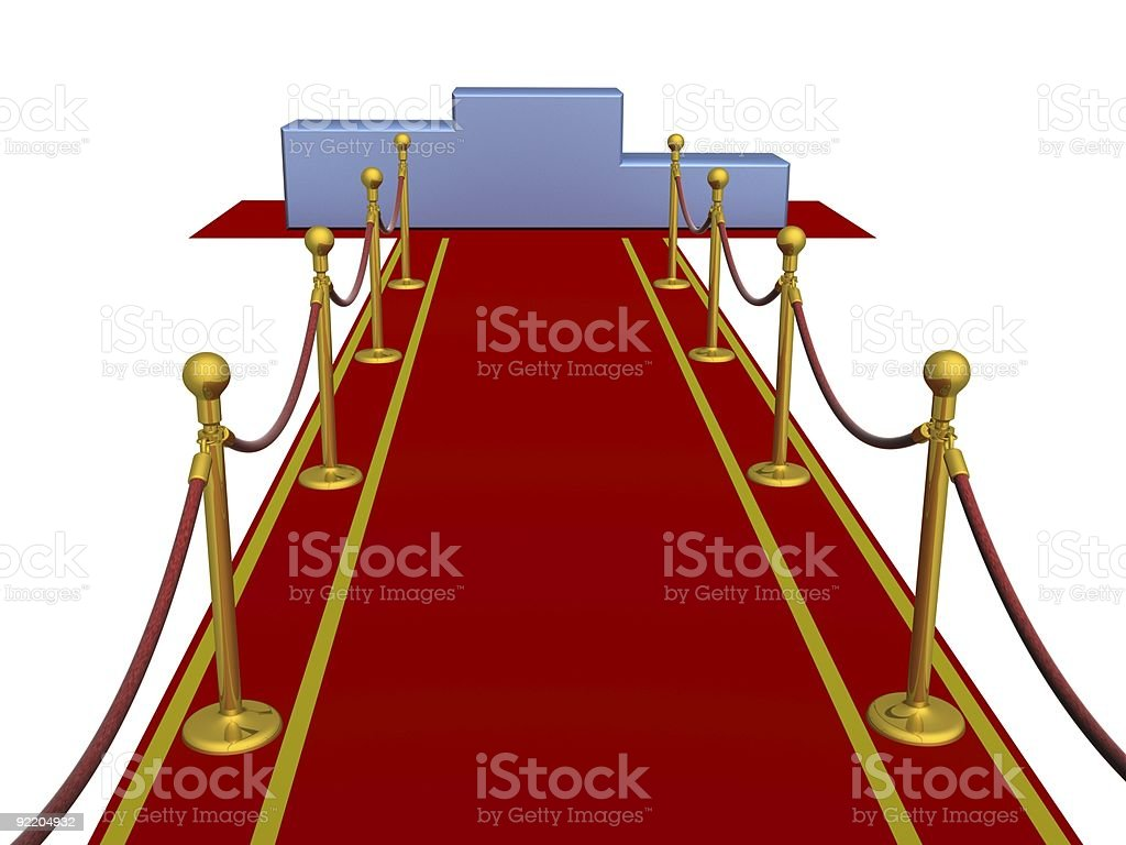 Red carpet and pedestal. 3D image. royalty-free stock photo