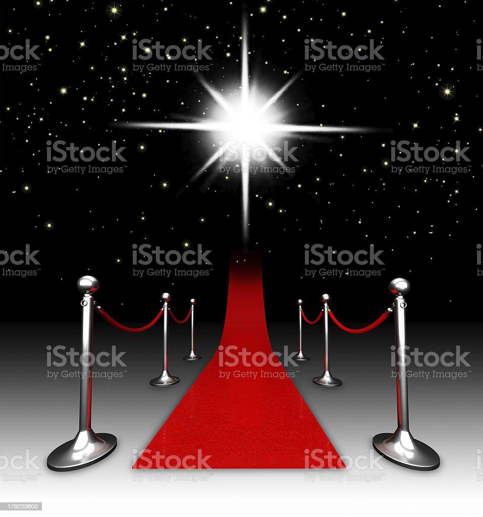 Red carpet at night. stock photo