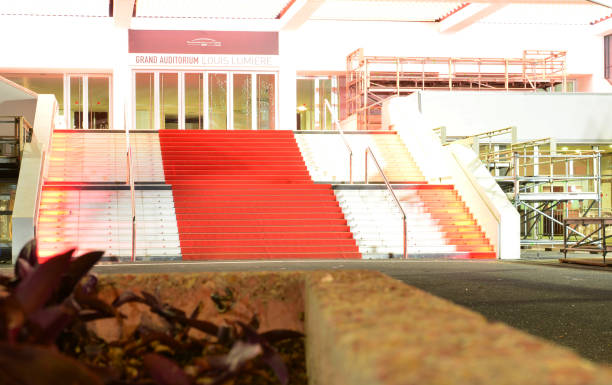 Red carpet at Palais des Festivals, Cannes, France stock photo
