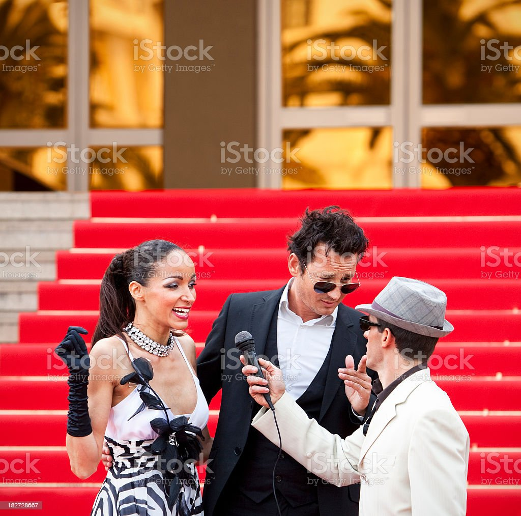 Red Carpet Celebrity Interview By Journalist Reporter In Cannes Royalty Free Stock Photo