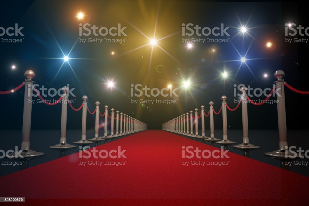 Red carpet for VIP. Flash lights in background. 3D rendered illustration. stock photo