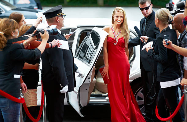 red carpet glamour - fame stock photos and pictures