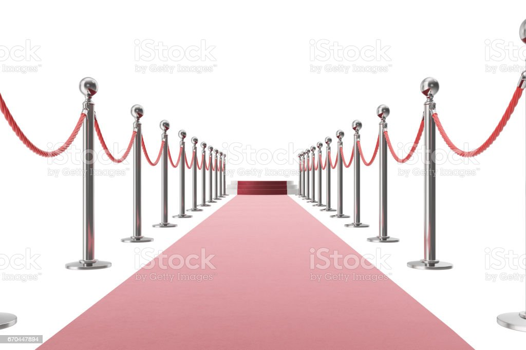 Red carpet isolated on white background. 3d rendering of silver stanchions and ropes between them - foto stock