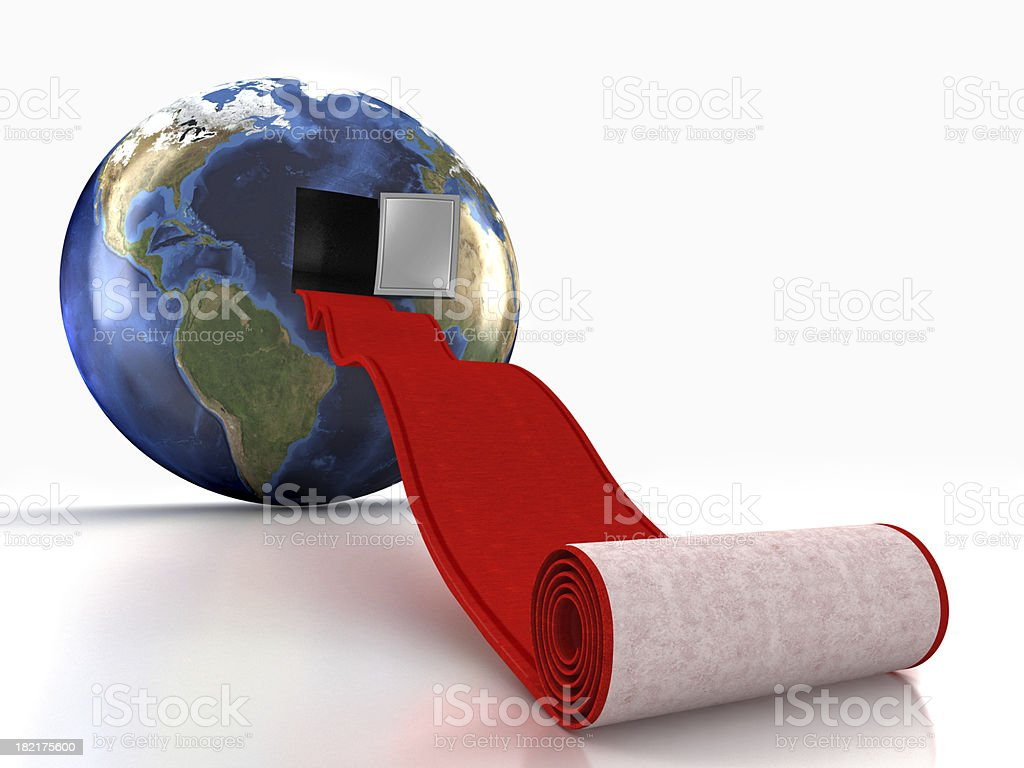 Red carpet leading into the earth royalty-free stock photo