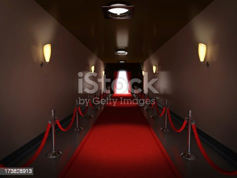 Red carpet laid along a corridor leading to the stage. Show business related concept image. High resolution 3D rendering.Similar images: