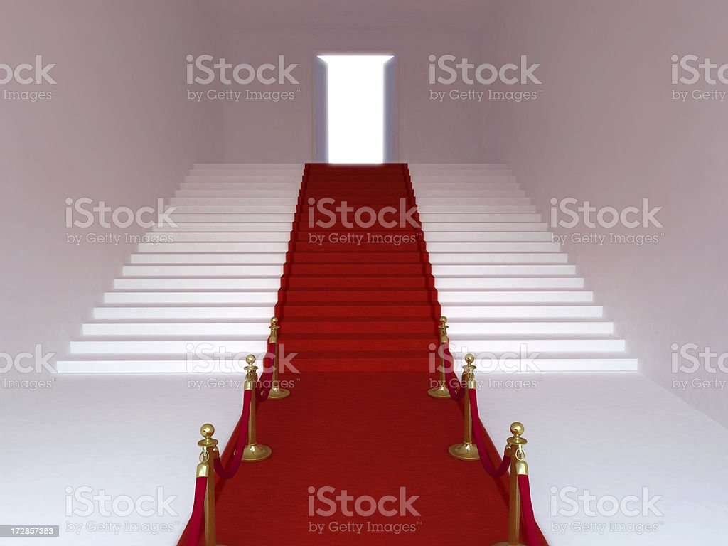 Red carpet leading up the stairs royalty-free stock photo