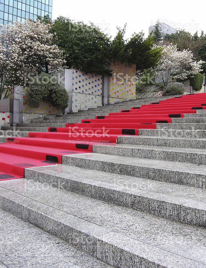 Red Carpet on Steps royalty-free stock photo