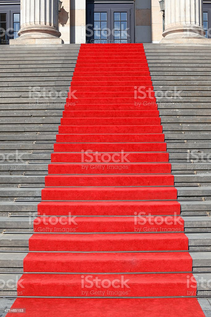 Red carpet stairs royalty-free stock photo