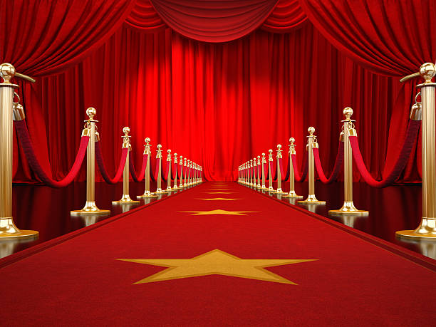 Red carpet to the stage stock photo