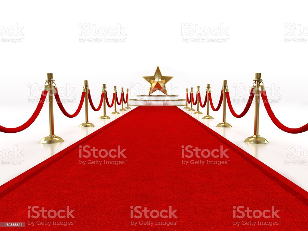 Red carpet with a star shape on the stage stock photo