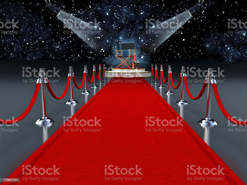 Red carpet with director's tools royalty-free stock photo