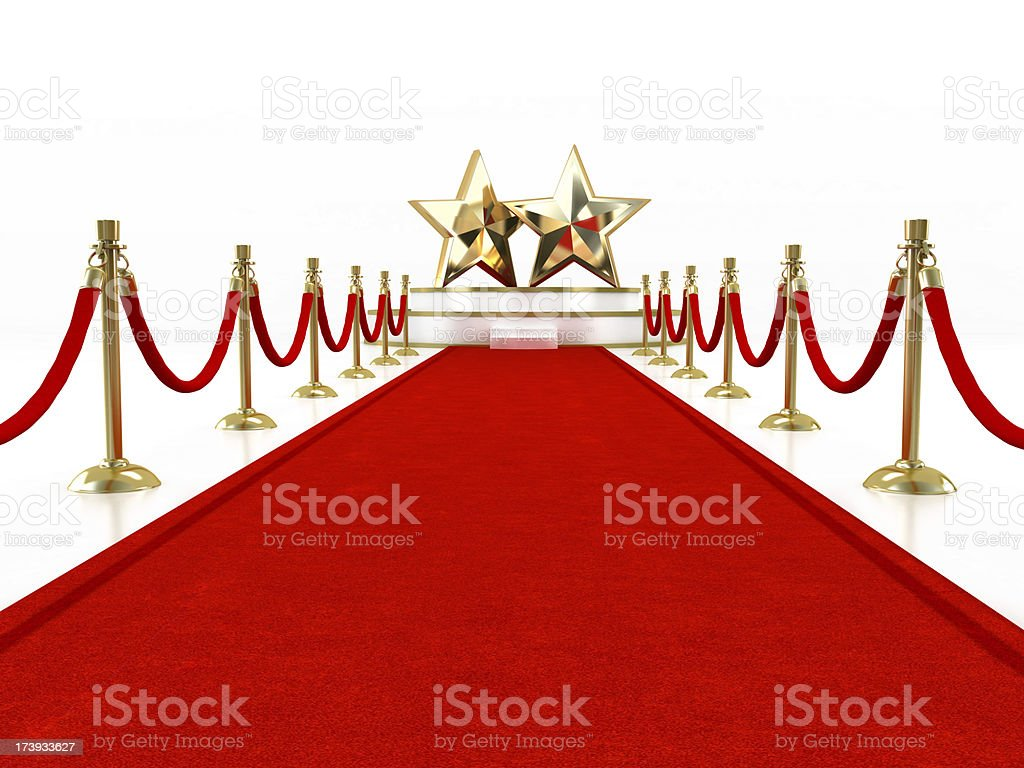 Red carpet with two stars royalty-free stock photo
