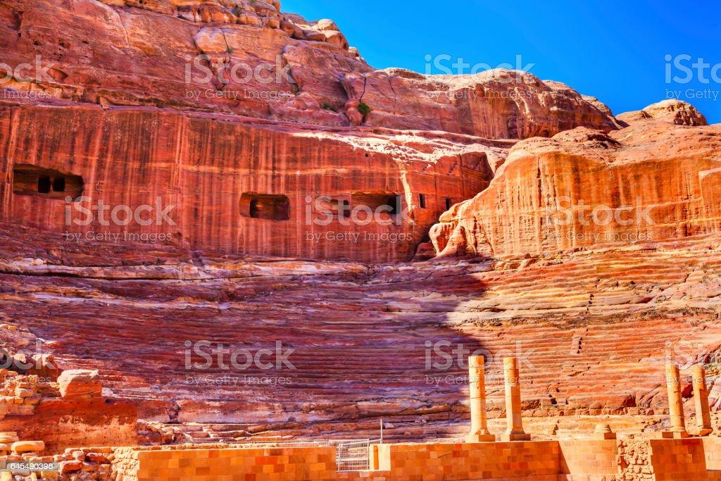 Red Carved Amphitheater Theatre Siq Petra Jordan stock photo