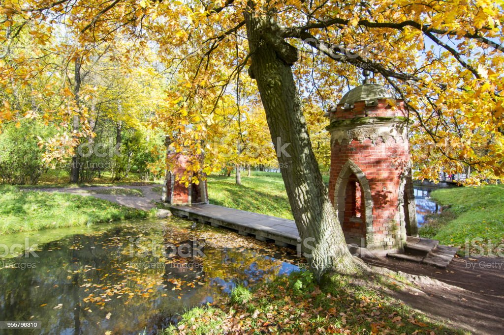 Red (Turkish) Cascade in golden fall in Catherine park, Pushkin, Saint Petersburg, Russia stock photo