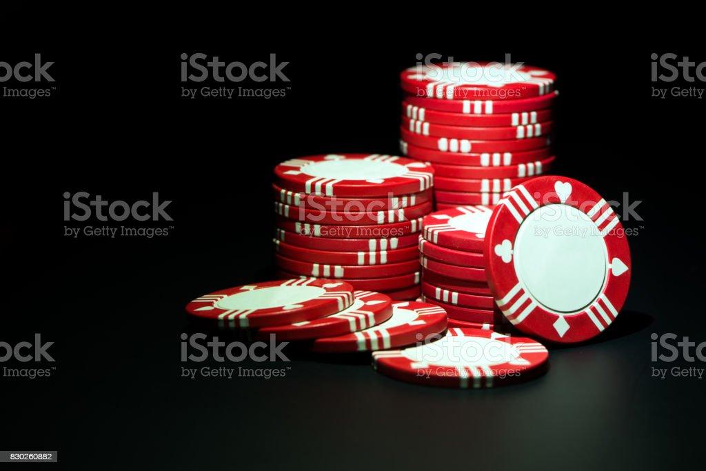 Red casino chips stock photo