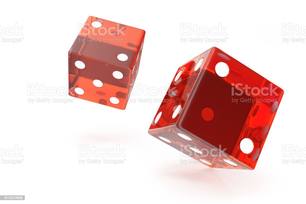 Red Casino dice, concept of gambling, on white background, 3d rendering stock photo