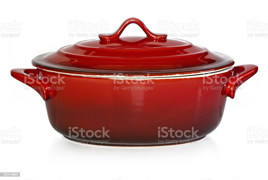 Red Casserole Dish stock photo