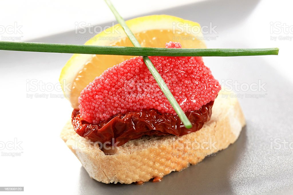 Red caviar canape royalty-free stock photo
