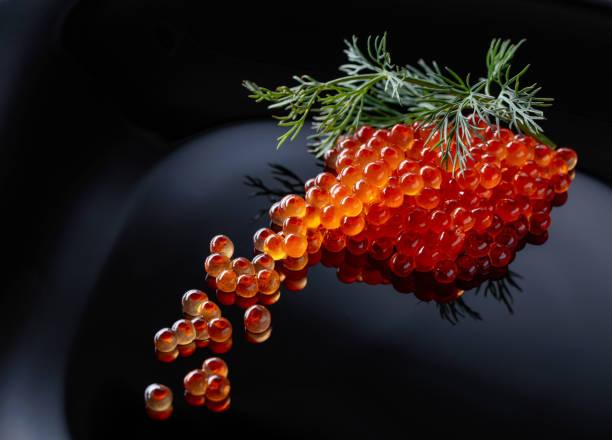 caviar rojo con eneldo. - caviar fotografías e imágenes de stock