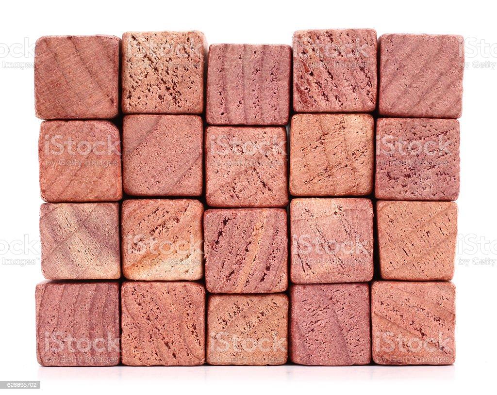 Red cedar wood blocks stock photo