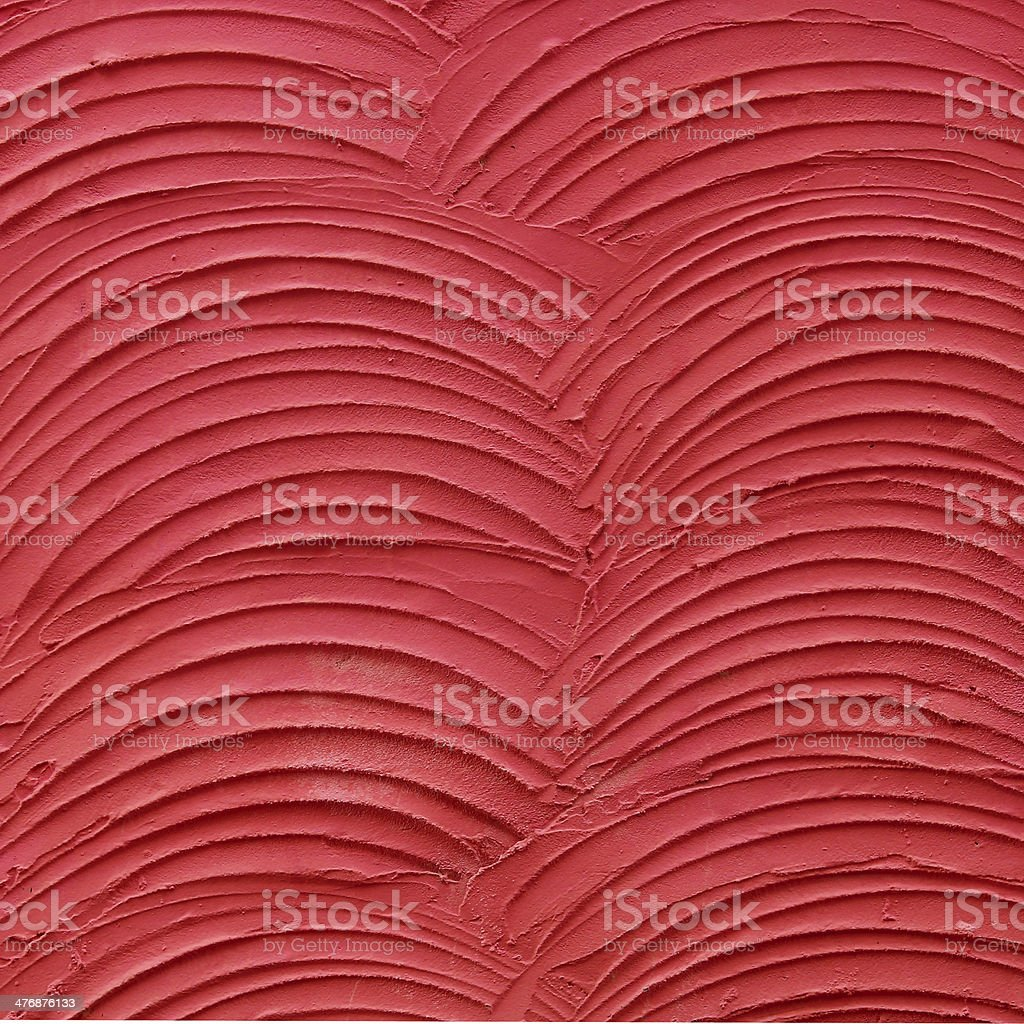 red cement wall is plaster curve rough style stock photo