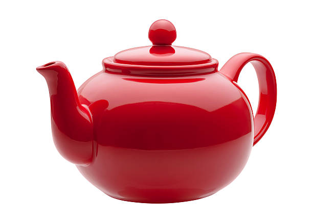 keramik, rot-teekanne - keramikteekannen stock-fotos und bilder