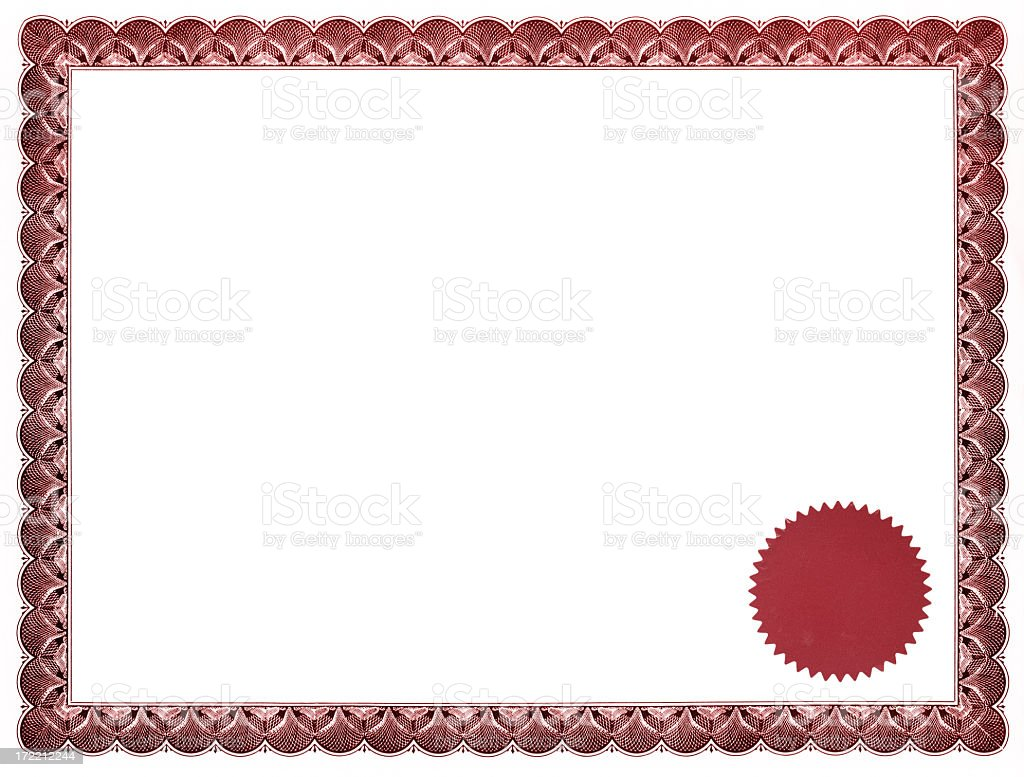 Red certificate with seal stock photo