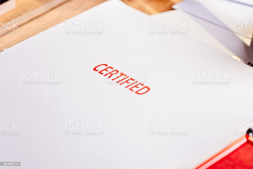 Red certified rubber stamp stock photo