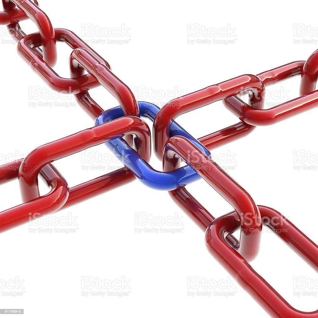 Red chains with one common blue link stock photo