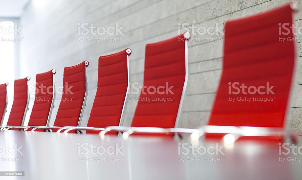 Red Chair in business boardroom royalty-free stock photo