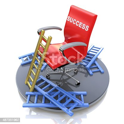 istock Red chair with an inscription - success 487351962