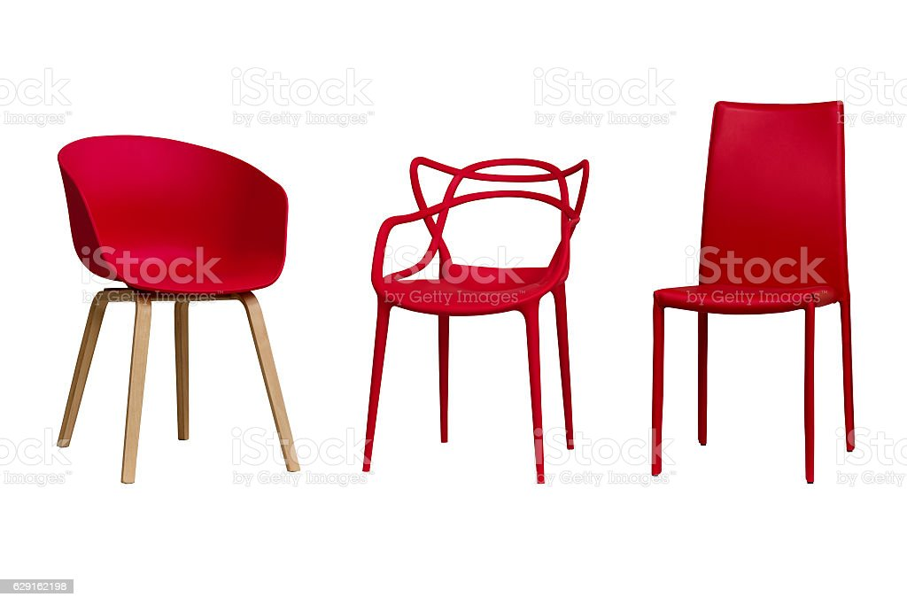 Red chairs. Part 1. Isolated, white background. - foto de stock