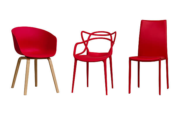 red chairs. part 1. isolated, white background. - stoel stockfoto's en -beelden