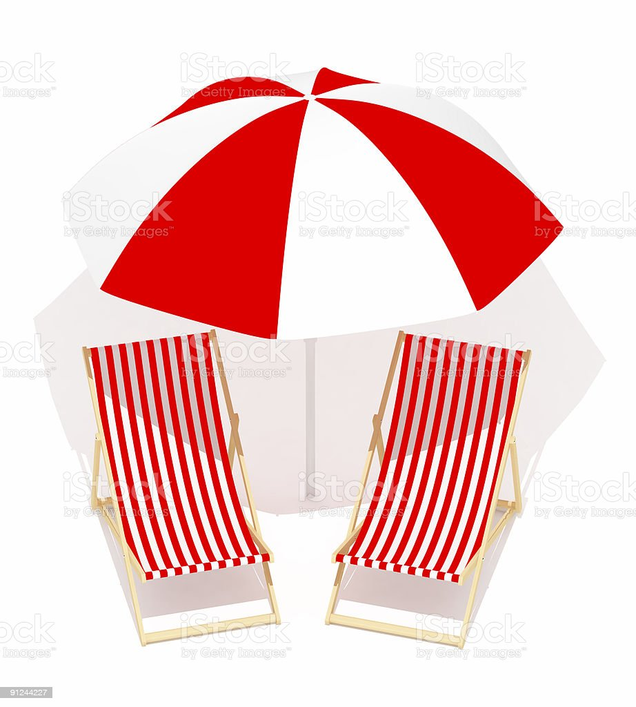 red chaises longue and umbrella royalty-free stock photo