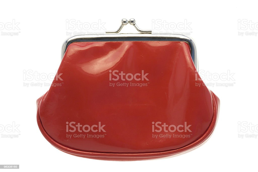 Red changing purse stock photo